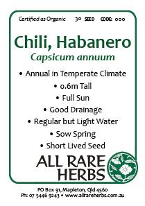 Chili, Habanero  seed